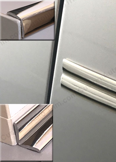 1 inch Flexible Inside and Outside Corner Molding and Ridge Line Molding, Chrome.