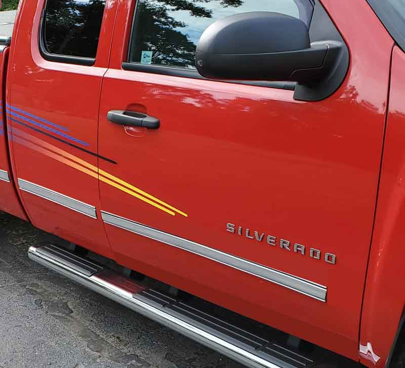 2 1/4 inch Chevy Silverado Style Body Side Molding Chrome w/ Chrome Center.