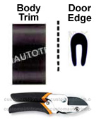 1 3/8 inch Body Side Molding and Door Edge Guards Package w/ Cutter -Black.