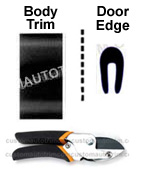 1 1/2 inch Body Side Molding and Door Edge Guards Package w/ Cutter - Black.