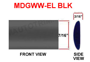 7/16 inch Elliptical Wheel Well Molding Black 20 Ft or 100 Ft Rolls.