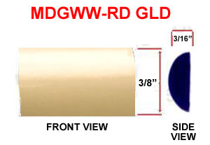 3/8 inch Round Wheel Well Molding Gold 125 Ft Roll.