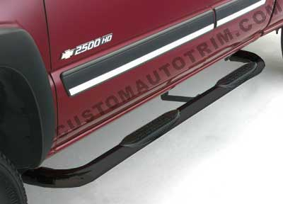3 inch Round Black Nerf Bars Cab Length - Pair