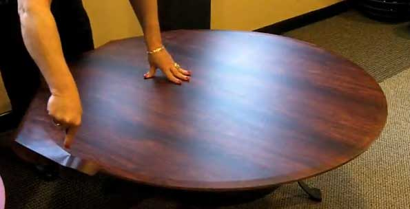 Cover Glass Tables with Wood Grain Wrap.