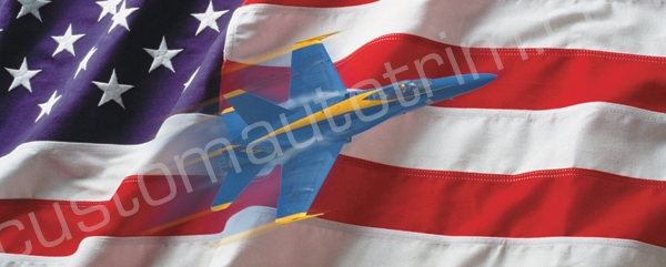 Fighter Plane and Flag Rear Window Graphic