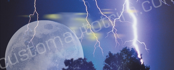 Moon and Lightning Rear Window Graphic
