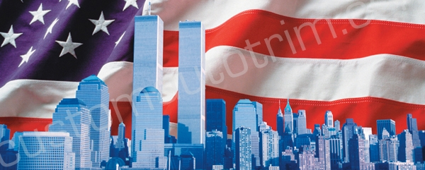 Twin Towers And American Flag Rear Window Graphic