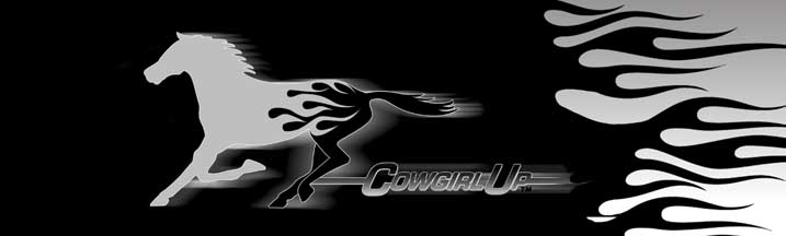 Cowgirl Up Silver Horse Flame Rear Window Graphic