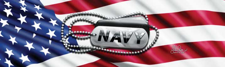 John Rios Navy Tags and Flag Rear Window Graphic