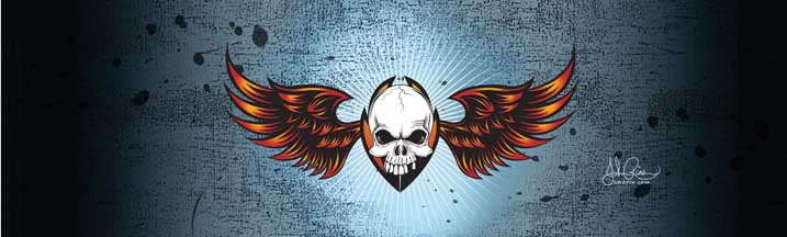 John Rios Wing Skull Rear Window Graphic