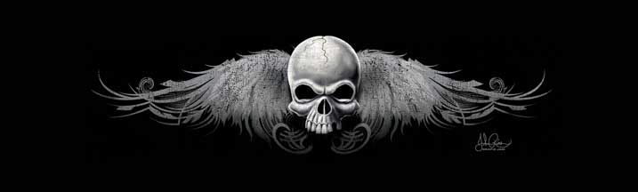John Rios Wing Skull 2 Black & White Rear Window Graphic