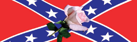 Southern Belle Rose and Confederate Flag Rear Window Graphic