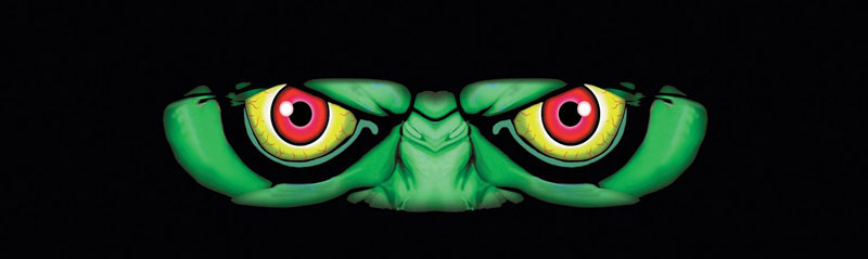 Green Monster Closeup Eyes Rear Window Graphic
