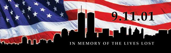 9-11 MEMORIAL SKYLINE AND FLAG Rear Window Graphic