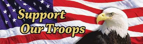 Support Our Troops Eagle Head and Flag Rear Window Graphic Rear Window Graphic