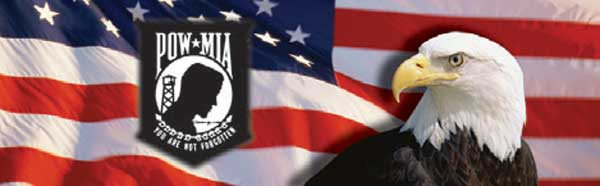 POW Logo and Eagle on American Flag Rear Window Graphic
