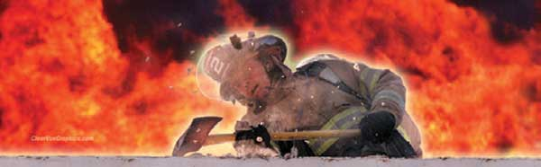 FIREFIGHTER WITH AXE AND FLAMES Rear Window Graphic