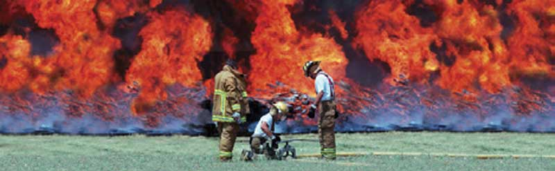 Firefighters at Wall of Flames Rear Window Graphic