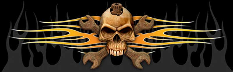 Skull And Wrenches Flames Rear Window Graphic