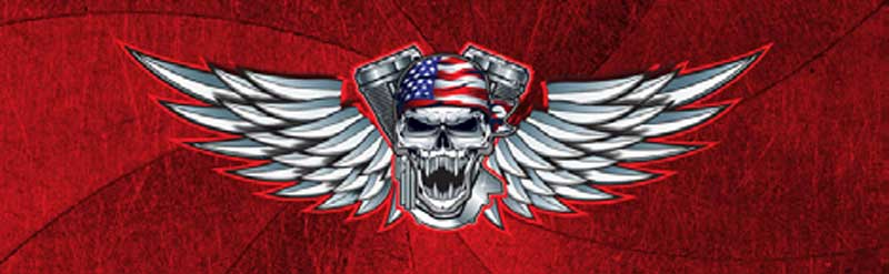 Winged Skull Patriot Rear Window Graphic