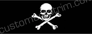 Jolly Roger Pirate Flag Window Graphic; Skull and Crossbones Rear Window Graphic